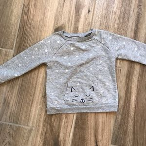 Star Sweatshirt with Cat Pouch 2T